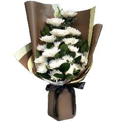 18枝白色菊花/对故人的敬拜