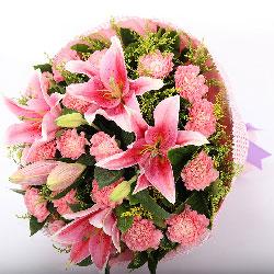 牵挂您/19枝粉色康乃馨百合