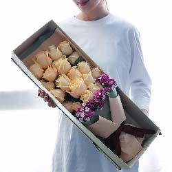 爱你到永远/19支香槟玫瑰礼盒