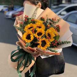 祝您万事如意/8枝向日葵