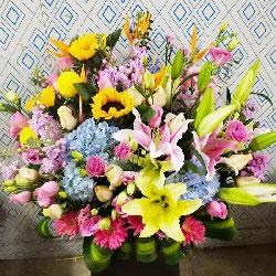粉玫瑰花篮,祝福您健康长寿