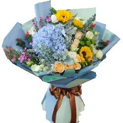 友情长存/9枝香槟玫瑰,向日葵,绣球花