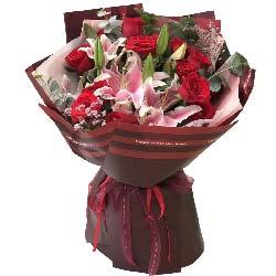天荒地老/11枝红玫瑰,2枝多头粉色百合