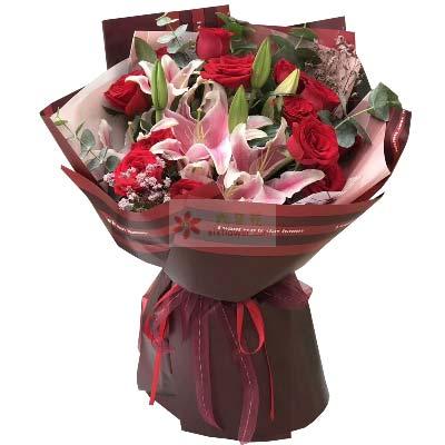 天荒地老/11支红玫瑰,2支多头粉色百合