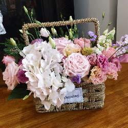 不能忘记的祝福/粉色绣球花1支,粉色玫瑰11支