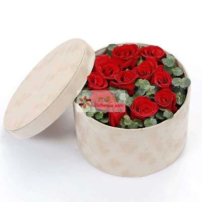 11支红玫瑰/圆桶礼盒