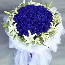 99支蓝玫瑰,20朵白色百合/一起到永远