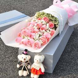 19朵戴安娜玫瑰礼盒,青春美丽属于你