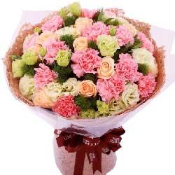 11朵康乃馨,8朵香槟玫瑰/让您健康一生
