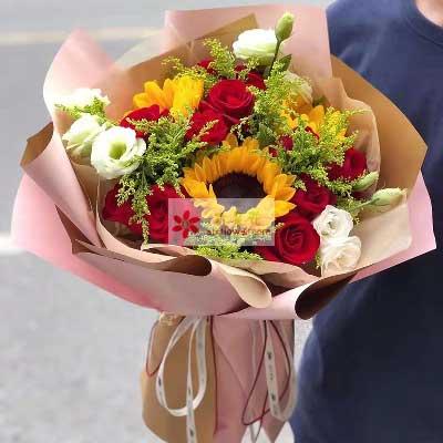 11朵红玫瑰,3朵向日葵/幸福快乐永相随