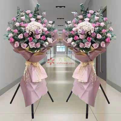 30朵粉色、紫色玫瑰混搭/三脚架开业花篮