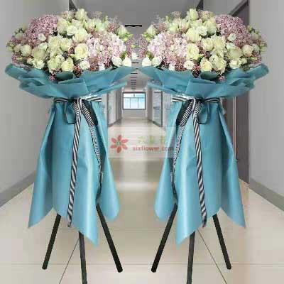 20朵白玫瑰,3朵粉色绣球花,六六大顺生意