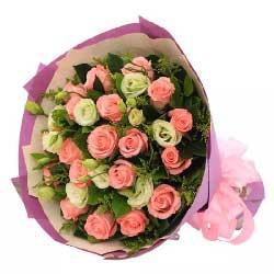 15朵粉玫瑰,9朵桔梗,欢乐音符