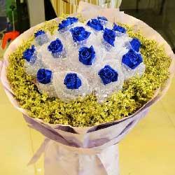 16朵蓝玫瑰,幸福和暖暖爱意