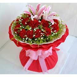 16朵红色康乃馨,母爱坚忍不拔