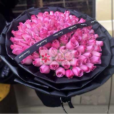 99朵紫玫瑰,爱如期寄来