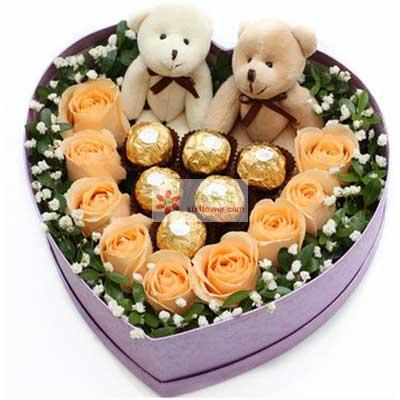 9朵香槟玫瑰,6颗巧克力,爱情神话