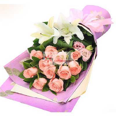 11朵戴安娜玫瑰,2朵白色百合/与你长久相守