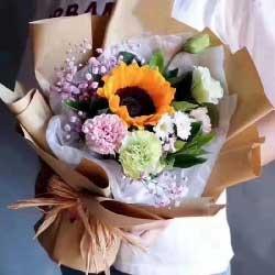 1朵向日葵,1朵粉色康乃馨/笑口常开