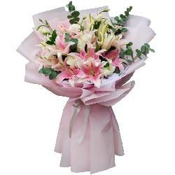 12支粉色多头百合,恩情最难忘