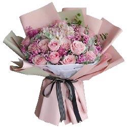 16朵戴安娜粉玫瑰,想你是幸福的