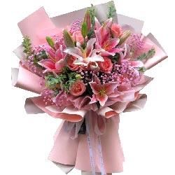 4支粉色多头百合,相亲相爱到永久