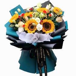 6朵向日葵,9朵香槟玫瑰,人生更加美好