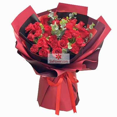 19朵红玫瑰,10朵红色康乃馨,幸福阳光把你温暖