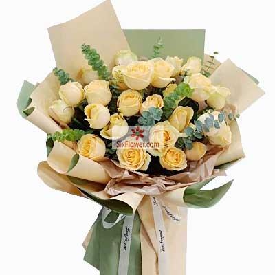 21朵香槟玫瑰,思念与爱与日俱增