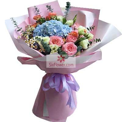 9朵戴安娜粉玫瑰桔梗,我愿意为你…