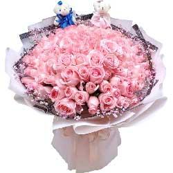 99朵戴安娜粉玫瑰,好想你