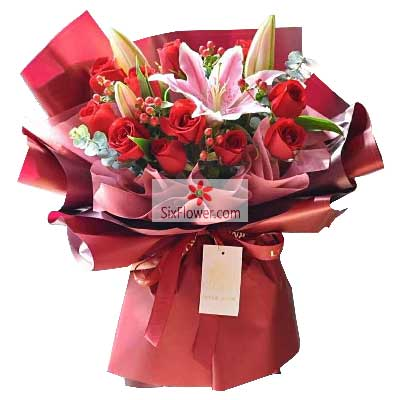 11朵红玫瑰,2支粉色多头百合,…