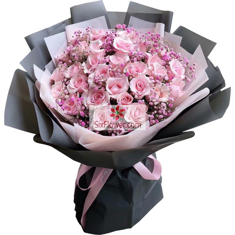33朵粉色佳人玫瑰,人生相依