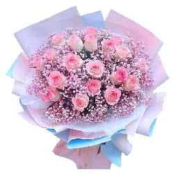 19朵戴安娜粉玫瑰,爱上你是幸福的
