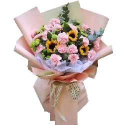 18朵粉色康乃馨,3朵向日葵,天天开心