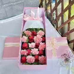 10朵粉色康乃馨,9朵红色玫瑰,幸福快乐
