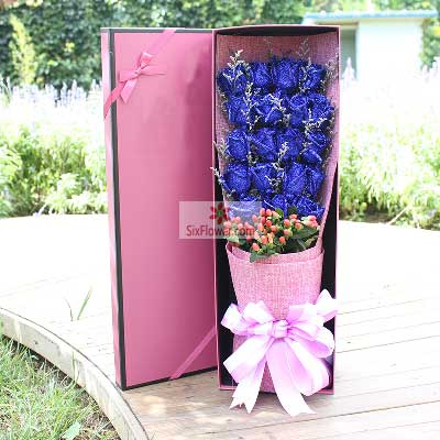 19朵蓝玫瑰,礼盒装,甜蜜一生