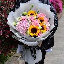 4朵向日葵,11朵粉色康乃馨,婉转悠扬的爱