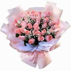 33朵戴安娜粉玫瑰,此情久久