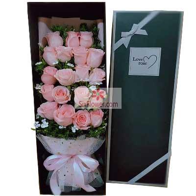 19朵戴安娜粉玫瑰,爱与幸福的无…