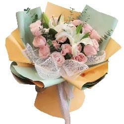 16朵粉色佳人百合,愿用你入怀