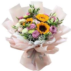 9朵紫玫瑰,3朵向日葵,缘分永远