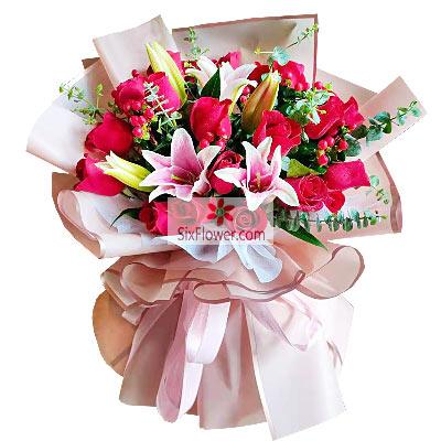 19朵红玫瑰,2支粉色多头百合,美好的爱情人生