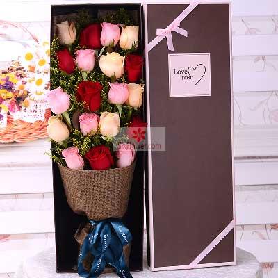 19朵玫瑰,礼盒装,甜蜜爱情