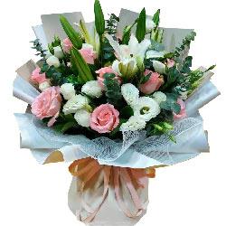 11朵戴安娜粉玫瑰,11朵桔梗,如此幸福