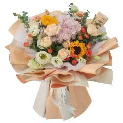 9朵香槟玫瑰,9朵桔梗,快乐一生