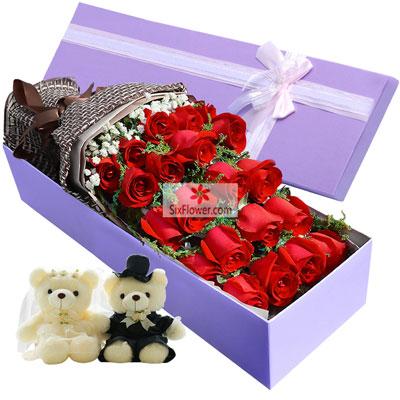 21朵红玫瑰,礼盒装,我们恋爱吧