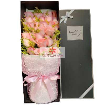 21朵戴安娜粉玫瑰礼盒,相约到白…