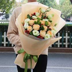 11朵香槟玫瑰,11朵桔梗,给你我全部的爱