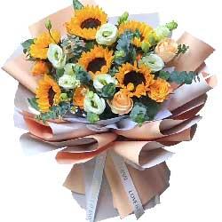 6朵向日葵,9朵香槟玫瑰,实现人生的每一个目标